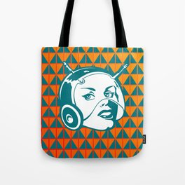 Faces: SciFi lady on a teal and orange pattern background Tote Bag