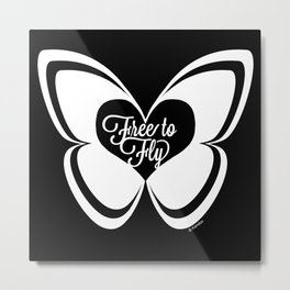 FREE TO FLY butterfly - white Metal Print