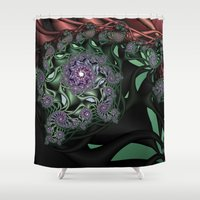novelty Shower Curtains featuring Lilac Fractal Garden by Moody Muse