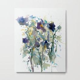Iris Garden watercolor painting Metal Print