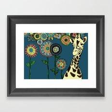 Giraffe with abstract flowers Framed Art Print