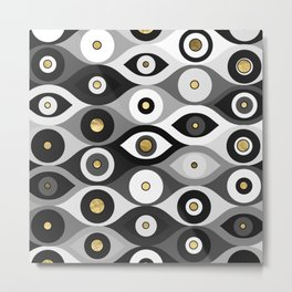 Evil Eye protection pattern grayscale and gold Metal Print