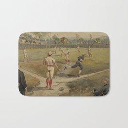 Vintage Painting of a Baseball Game (1887) Bath Mat