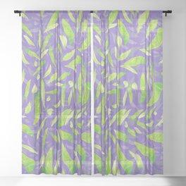 Green Splats on Purple Sheer Curtain