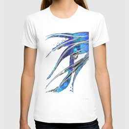 Abstract Blue And White Art - Flowing 5 - Sharon Cummings T-shirt