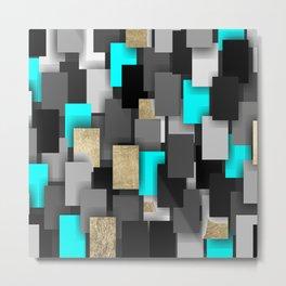 Geometrical black gold teal abstract pattern Metal Print