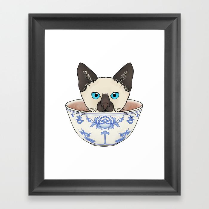 Cat In A Cup Framed Art Print by Brauseflummistudio FRM8529079