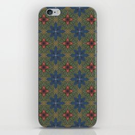 blue and red flowers iPhone Skin