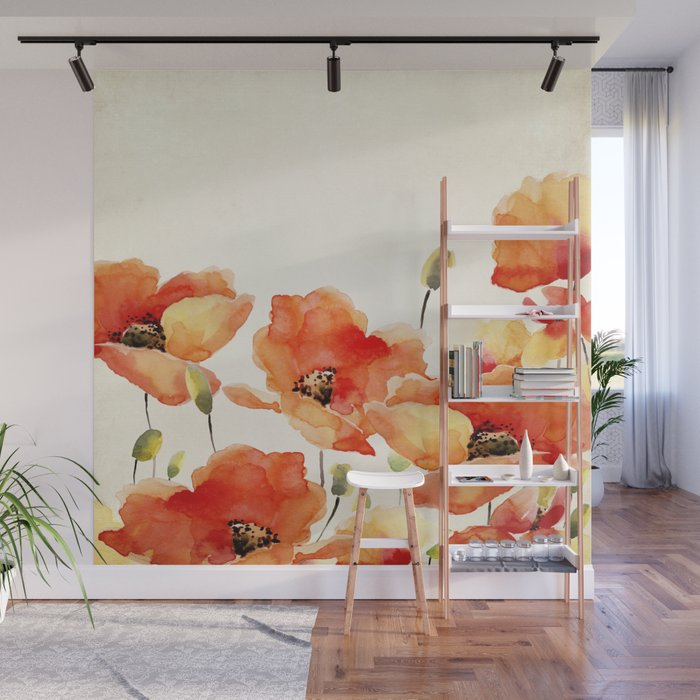 Poppy Flower Meadow- Floral Summer lllustration Wall Mural