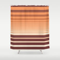 Ombre Horizontal Sienna and Orange Stripes Shower Curtain