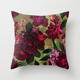 Vintage & Shabby Chic - Botanical Roses Summer Garden   Throw Pillow