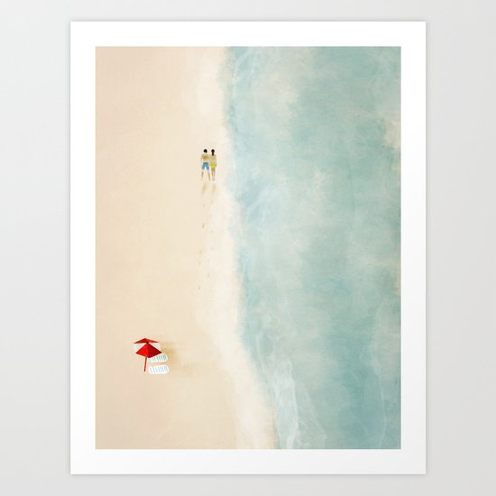 lets walk with the sea you and me Art Print