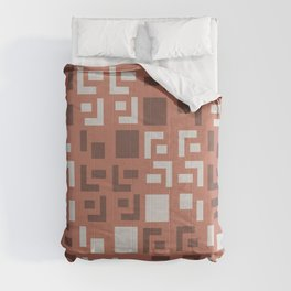 Retro Fancy Cinder Block Pattern Brick Red Comforters
