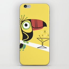 Swank Mid Century Modern Toucan Tiki Bird With Martini iPhone Skin