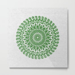 Mandala Green on Japanese Rice Paper Metal Print