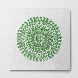 Mandala Green on Japanese Rice Paper Metal Print