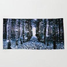 Magical Forest Dark Blue Elegance Beach Towel