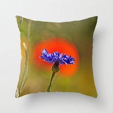 Cornflower and poppy Throw Pillow