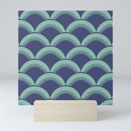 Japanese Fan Pattern Blue and Turquoise Mini Art Print
