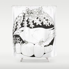 Crow with Pumpkins and Oak Shower Curtain