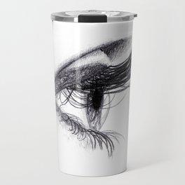 Eye handmade Drawing, Made in pencil and charcoal, Realistic Drawing Travel Mug