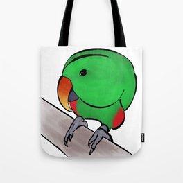 Curious Eclectus Parrot Tote Bag