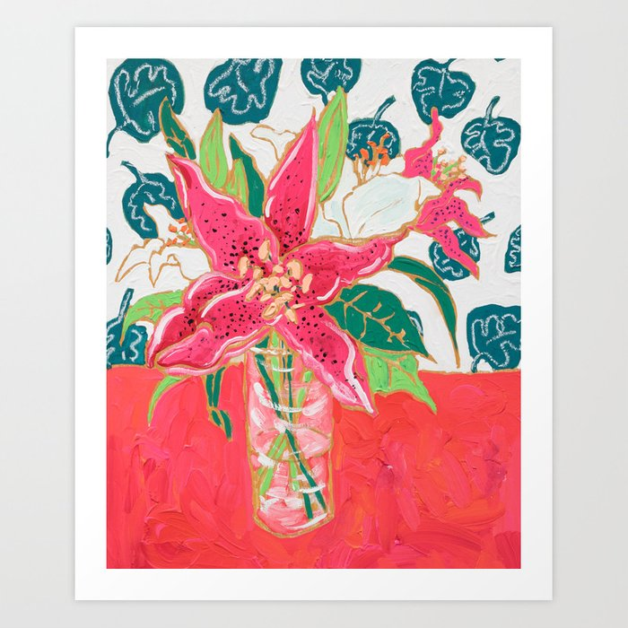 Pink and White Lily Bouquet with Matisse Wallpaper Kunstdrucke