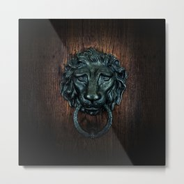 Vintage bronze lion door knocker Metal Print
