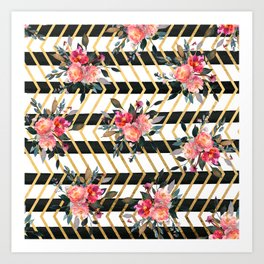 Modern Country Flowers Gold Zigzag Stripes Art Print