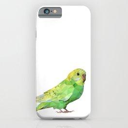 Geometric green parakeet iPhone Case