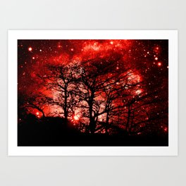 black trees red space Art Print