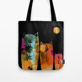 Cat Family at Night Tote Bag