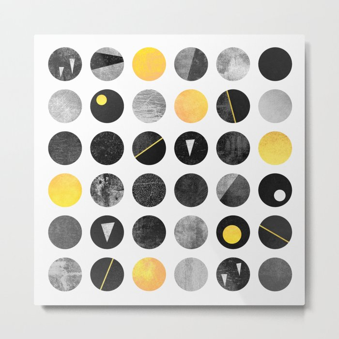 Dots / Yellow & Black Metal Print