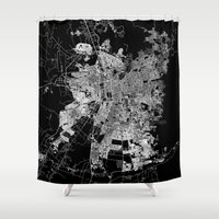 chile Shower Curtains featuring Santiago map Chile by Line Line Lines