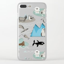 Arctic animals teal Clear iPhone Case