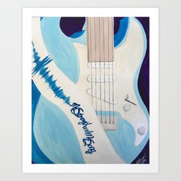 Blue Guitar and Strap Art Print