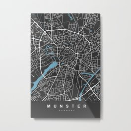 MUNSTER City Map - Germany | Black | More Colors, Review My Collections Metal Print