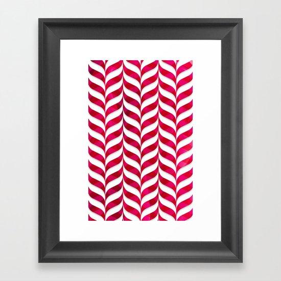 Red Leaf Herringbone Framed Art Print