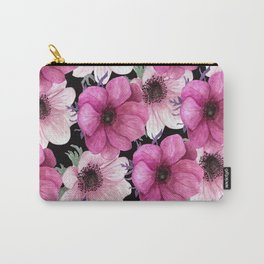 Serenity Garden: Pink Floral Pattern Carry-All Pouch