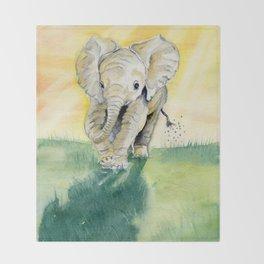 Colorful Baby Elephant Throw Blanket