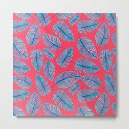 Monstera leaves, tropical watercolor pattern Metal Print