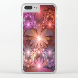 Bed Of Flowers Abstract, Fractal Art Clear iPhone Case
