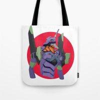 evangelion Tote Bags featuring Evangelion | Eva-01 by incognek0