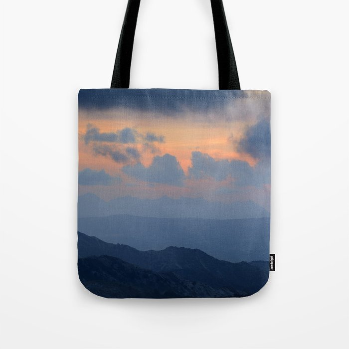 """Sunset at mountains"" Mountain light Tote Bag"