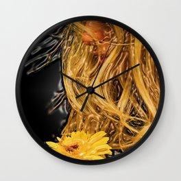 Blonde on blonde portrait with flower - Jéanpaul Ferro Wall Clock
