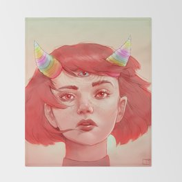 Red girl with horns Throw Blanket