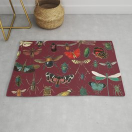 Lovely Butterfly Red Rug
