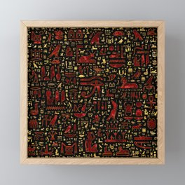 Ancient Egyptian hieroglyphic pattern Red Marble and Gold Framed Mini Art Print