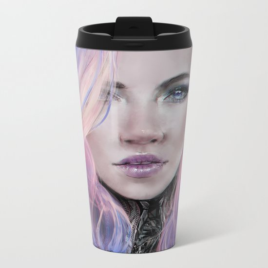 Ambrosial - Futuristic sci-fi girl with pink hair portrait Metal Travel Mug