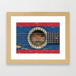 Old Vintage Acoustic Guitar with Belize Flag Framed Art Print